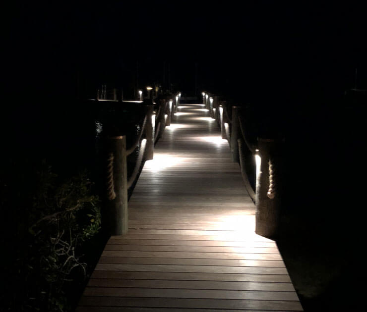 Installed the light in the pilings shining down right view