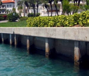 Concrete seawall